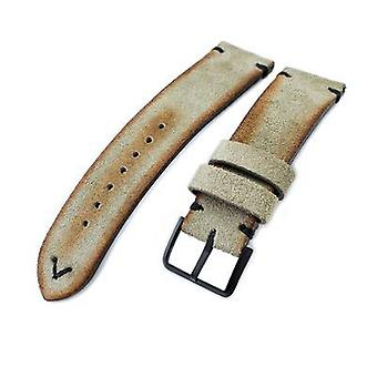 Strapcode leather watch strap 20mm, 21mm, 22mm miltat grey green genuine nubuck leather watch strap, black stitching, pvd buckle