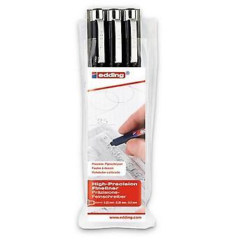 edding-1800 ass.profipen-أسود 3PC 0،25/0،35/0،5 مم / 4-1800-3