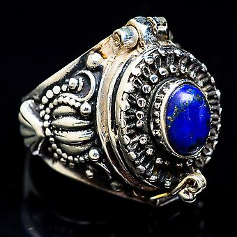 Large Poison Lapis Lazuli Ring Size 6 (925 Sterling Silver)  - Handmade Boho Vintage Jewelry RING3503