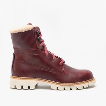 CAT Lifestyle Basis Fur Ladies Leather Ankle Boots Dark Red