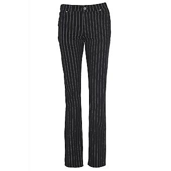 Run & Fly Black & White Pinstriped Skinny Jeans