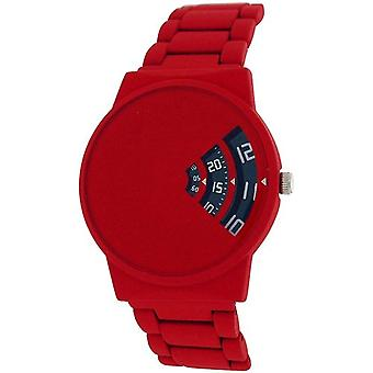Softech Gents Modern Rotating Dial Red Rubberised Bracelet Strap Watch SE287
