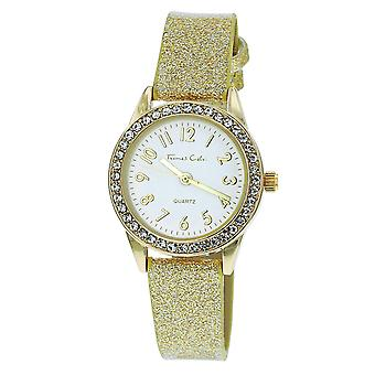 Thomas Calvi Ladies Analogue White Dial Clear Rhinestone Bezel Yellow Goldtone Glitter Plastic Strap Watch TCW235B