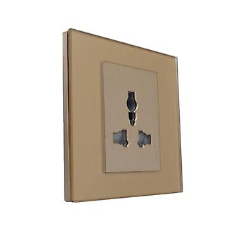 I LumoS Luxury Unswitched Gold Glass Multi Plug Electric Wall Single Socket