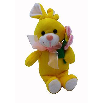 Plush Easter Bunny with Flower - Yellow