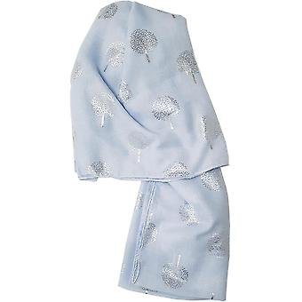 Sky Blue Silver Metalic Trees Scarf by Butterfly