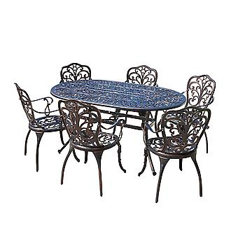 Cast Aluminium Rectangle Dining Table & 6 Chairs  Outdoor Garden Furniture Set