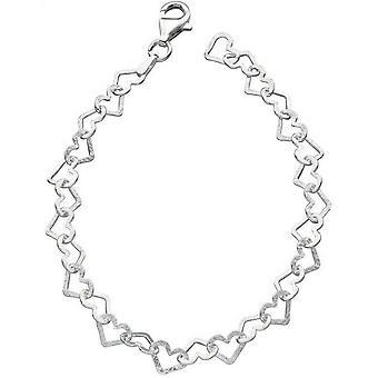Corte de diamante de começos pulseira coração - prata