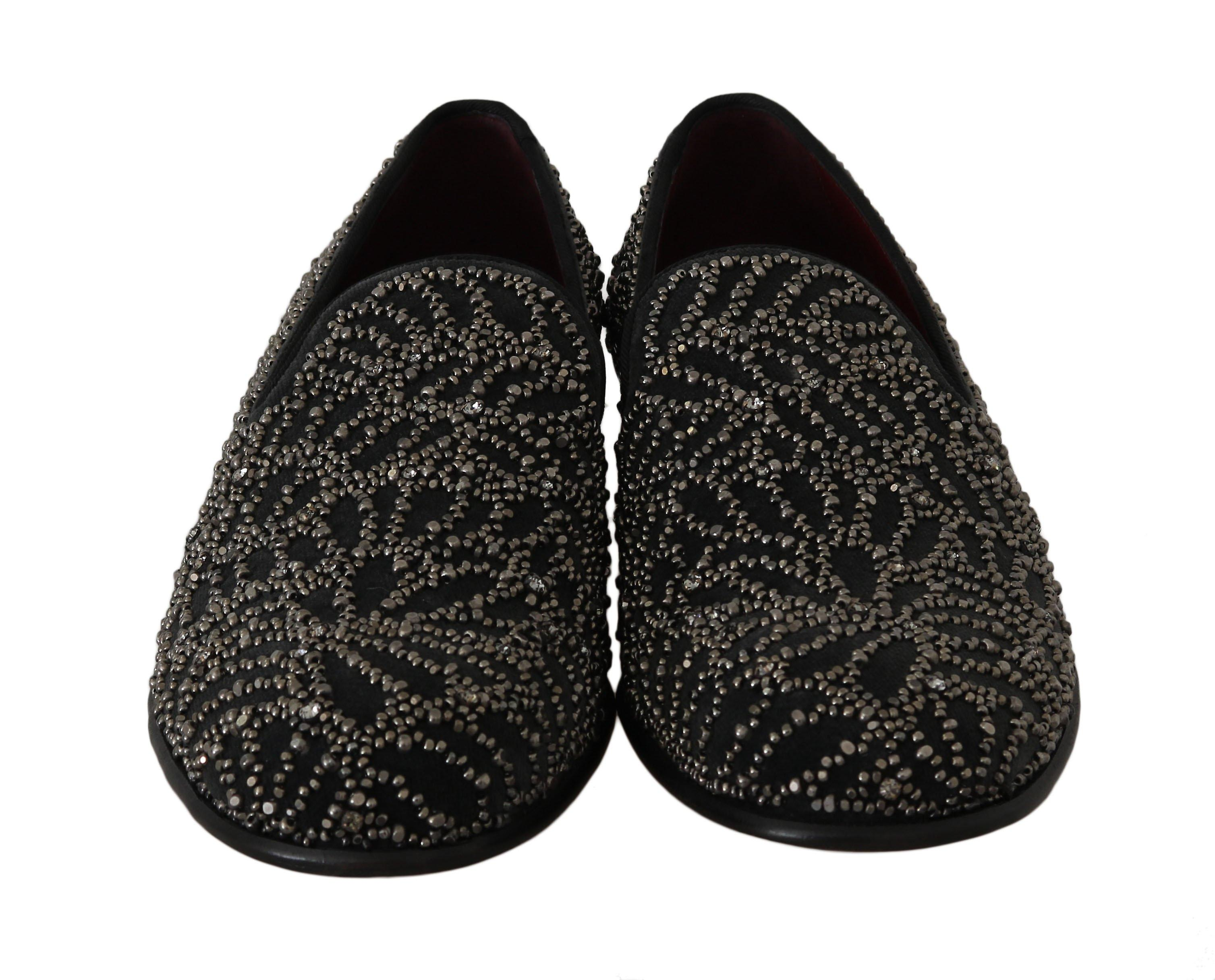 Dolce et Gabbana Black Velvet Crystal Beaded Loafers -- MV20627312