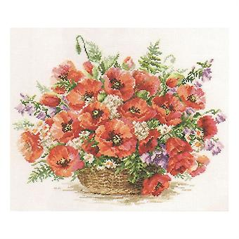 Alisa Cross Stitch Kit - Basket of Poppies