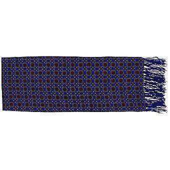 Michelsons of London Narrow Bold Medallion Silk Scarf - Blue