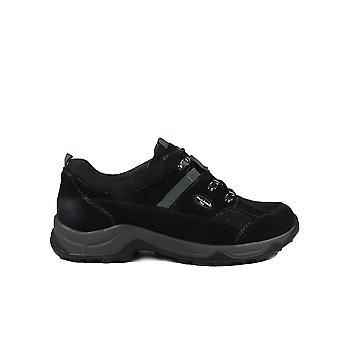 Waldläufer Hadel Denver 944951 203 001 Black Nubuck Leather Womens Lace Up Waterproof Walking Shoes