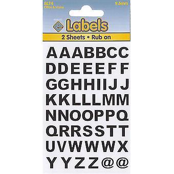 9.5mm Vinyl Alphabet Letters Stickers Labels – Set of 2 Sheets