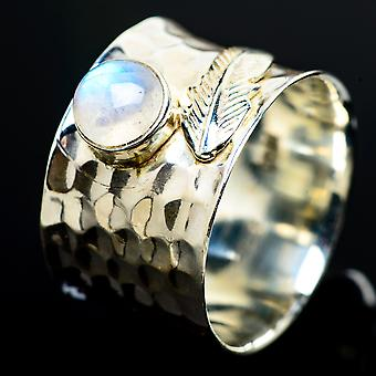 Rainbow Moonstone Ring Size 8.5 (925 Sterling Silver)  - Handmade Boho Vintage Jewelry RING7559