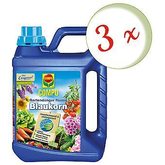 Sparset: 3 x COMPO garden fertilizer Blue grain® NovaTec® liquid, 2.5 litres