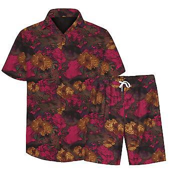 Allthemen Men's 3D Floral Suits 2-Pcs Shirt&Shorts