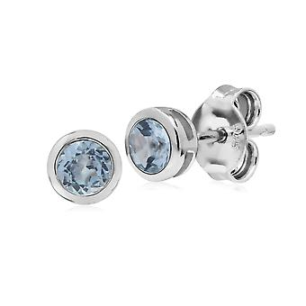 Classic Round Aquamarine Bezel Stud Earrings in 925 Sterling Silver 270E025809925