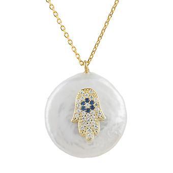 Latelita Pearl Hamsa Hand Fatima halsband onda ögat guld 925 sterlingsilver