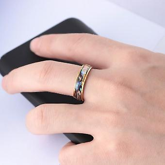 Gold plated ring with mother of pearl for men gold