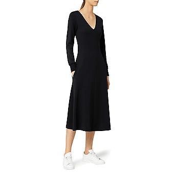 Meraki Women's A-line V-neck Midi Klänning med fickor, svart, L (US 10)