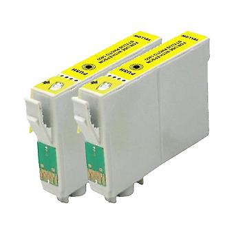 RudyTwos 2 x erstatning for Epson Duck blekk enhet gul kompatibel med Stylus Photo R240, R245, RX400, RX420, RX425, RX430, RX450, RX520