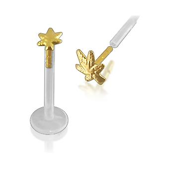 Bio-Plast Lip Labret with Marijuana Leaf Shaped 14K Gold Head
