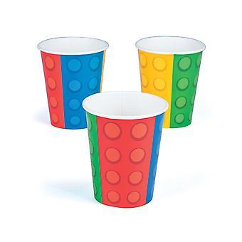 8 Gebouw Baksteen of Blok Gedrukte Papieren Party Cups