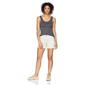 "Essentials Women's 5"" Inseam Solid Chino Short Shorts,, Stone, Size 2.0"