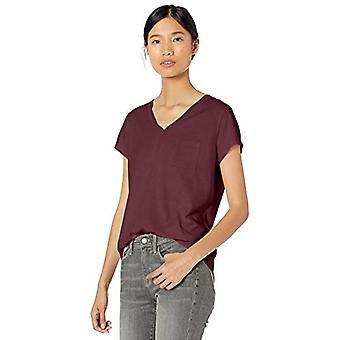 Märke - Goodthreads Women&s Washed Jersey Cotton Pocket V-Neck T-Shirt, Bordeaux, XX-Large