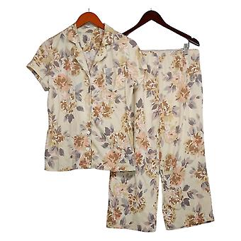 Isaac Mizrahi Live! Women's Pajama Set Floral Printed Beige