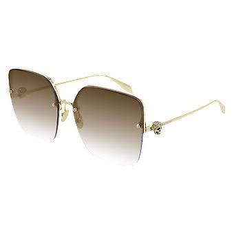 Alexander Mcqueen AM00271S 002 Gold/Brown Gradient Sunglasses