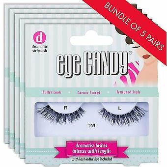 Eye Candy False Eyelashes - 209 - Fake Lashes - 5 Pairs with Lash Adhesive