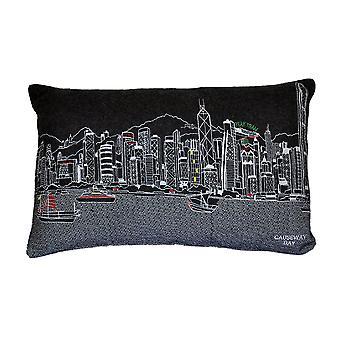 Hongkong Printed Pictorial Skyline Contemporary Wool Day/Night Cushion