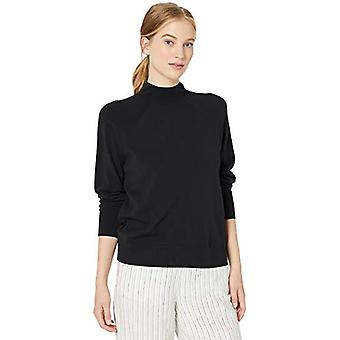 Brand - Daily Ritual Women's Fine Gauge Stretch Mockneck Pullover Sweater, Black,Small