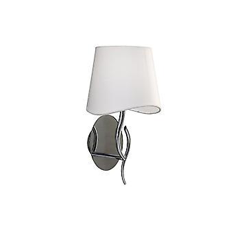 Vägglampa Switched 1 Light E14, polerad krom med Ivory White Shade