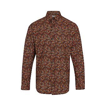 Jenson Samuel Navy & Tan Leaf Print Regular Fit Shirt