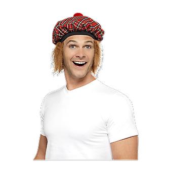 Mens Red Tartan Print Scottish Hat With Hair Fancy Dress Costume Accessory