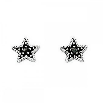 Beginnings Sterling Silver A852H Grey Oxidised Star Stud Earrings