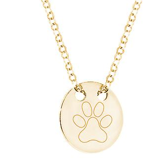 Ah! Jewellery 24K Gold Vermeil Over Sterling Silver Engraved Pawprint Solid Circle Necklace, Stamped 925.
