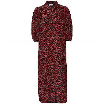 Ganni Printed Crepe Shirt Dress