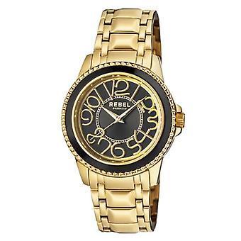 Rebel Unisex RB107-9078 Williamsburg Black Dial Gold IP Steel Watch