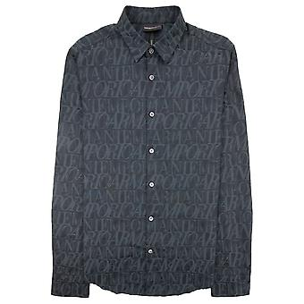 Emporio Armani All Over Logo Print Shirt Lettere Grige 620