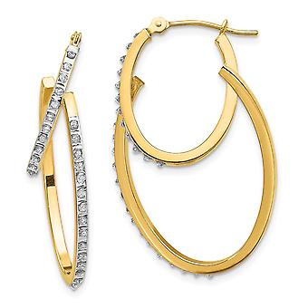 14k Yellow Gold Polished Diamond Fascination Hinged Double Hoop Earrings Jewelry Gifts for Women