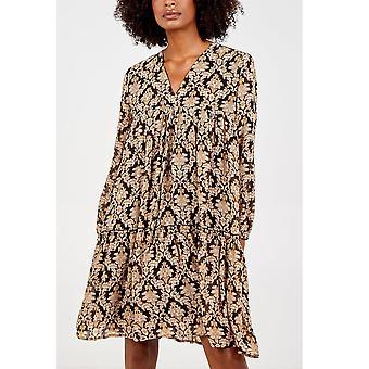 Ayesha Brocade Smock Tunic Dress | Black/Gold
