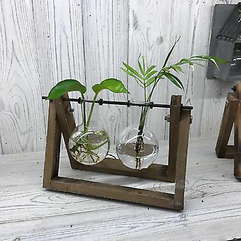 Décor maison hydroponique - Deux pot en bois Stand X 1