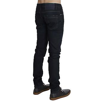 Chic Outlet Blue Cotton Stretch Slim Fit Spodnie jeansowe