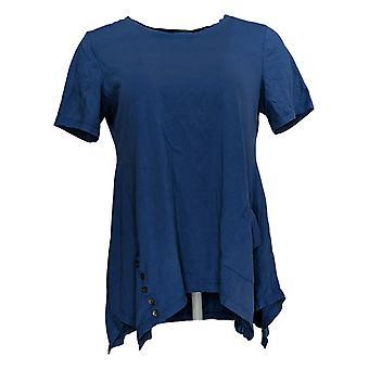 LOGO Par Lori Goldstein Women's Top Short Sleeve Crew Neck Blue A290508