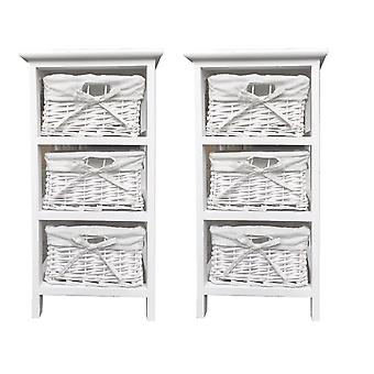 Set of 2 Narrow Slim Bathroom Bedside Table Cabinet 29x31x56cm
