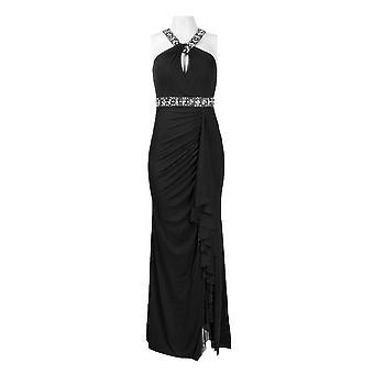 Neckline Twisted Strap Bead Detail Jersey Mesh Dress