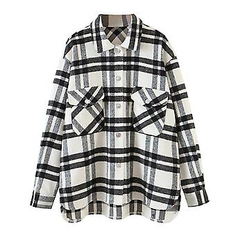 Casual Loose Wool Plaid Women Vintage Jacket